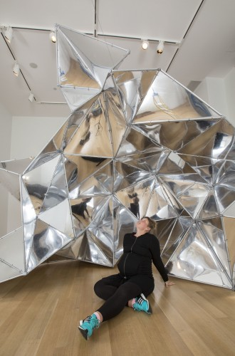 "Sonja Thomsen poses with ""Trace of Possibility"" at the DePaul Art Museum May 14. (DePaul University/Jamie Moncrief)"
