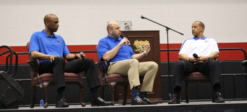 New DePaul basketball assistants answer questions. (Photo courtesy of DePaul Athletics)