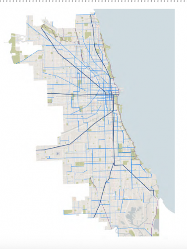 Riders will see expanded bike lanes throughout the city according to the Streets for Cycling Plan 2020, which aims to build bike lanes within a half-mile of every Chicagoan. (Photo courtesy of The Chicago Department of Transportation's Chicago Streets for Cycling Plan 2020)