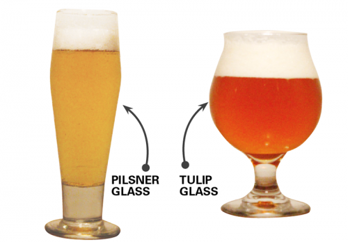 As the craft beer industry booms,  bars strive to serve their brews in glassware suited for each style. Tulip glasses are suited for IPAs, and pilsner glasses for lagers. (DePaulia File Photo)
