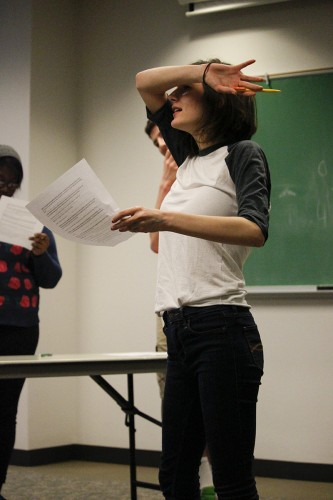Madeline Mosso practices skits during a Springboard Theater Company rehearsal Wednesday. (Kirsten Onsgard / The DePaulia)