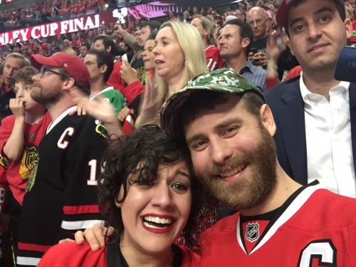 Recent DePaul grad Jaeger Robertson sits with his girlfriend Tricia Papanton at Game 6 of the Stanley Cup Finals at the United Center. Robertson was given tickets through BMO Harris Bank on Monday.
