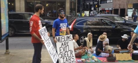 Christian protesters speak out against Hindu chanters at DePaul Center