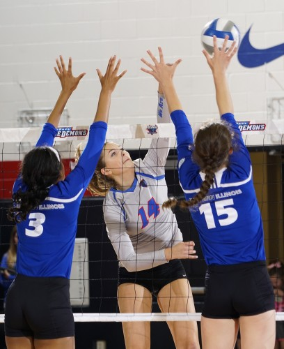 The DePaul volleyball freshman have enjoyed a modicum of success as they helped DePaul jump out to an 8-1 start at the beginning of 2015. Photo courtesy of DePaul.