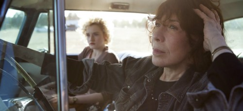 "In this image released by Sony Pictures Classics, Julia Garner, left, and Lily Tomlin appear in a scene from ""Grandma."" (Aaron Epstein/Sony Pictures Classics via AP)"