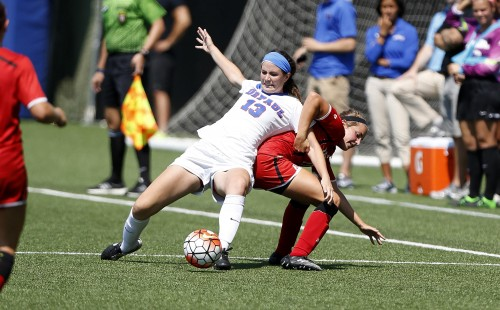 Junior defender Taylor Schissler transferred to DePaul before the 2015 season and has staked a claim as starting left back. Photo courtesy of DePaul Athletics.