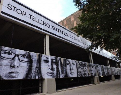 The mural, located at the corner of Eighth and Wabash, addresses the issue of catcalling, and how it makes women feel uncomfortable and unsafe. (Danielle Church / The DePaulia)