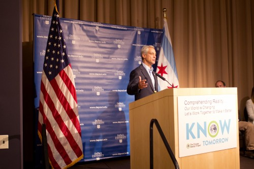Mayor Rahm Emanuel speaks at DePaul Friday to mark a national day of action for the organization Know Tomorrow, a student-led climate change awareness campaign. (Jessica Villagomez / The DePaulia)