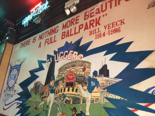 A Wrigley Field mural welcomes those who enter Slugger's bar on Clark St. (Megan Deppen / The DePaulia)