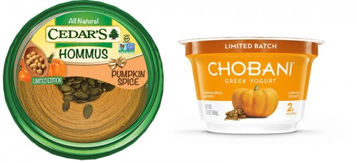 If the classic Starbucks Pumpkin Spice Latte can't fulfill your pumpkin cravings, there's plenty of spinoffs that can. (Photo courtesy of CHOBANI and CEDAR'S)