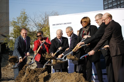 Chicago mayor Rahm Emanuel and DePaul president Rev. Dennis Holtschneider, C.M., were among those in attendance at Monday's groundbreaking ceremony for the new DePaul basketball arena. (Kirsten Onsgard / The DePaulia)