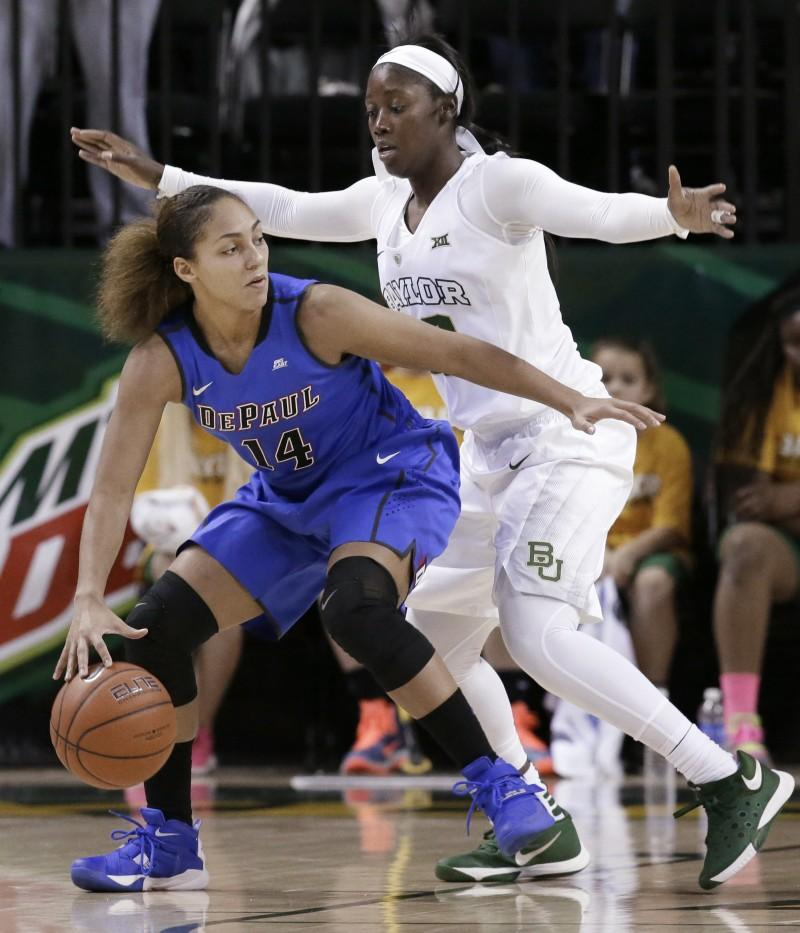 DePaul guard Jessica January (14) is defended by Baylor guard Alexis Jones during the second half of an NCAA college basketball game Sunday, Nov. 22, 2015, in Waco, Texas. Baylor won 86-72. (AP Photo/LM Otero)
