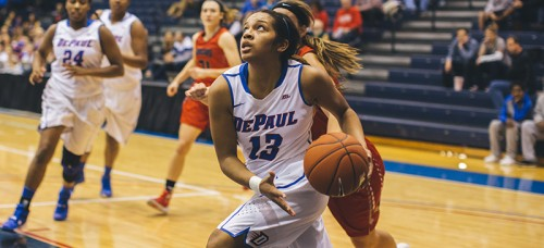 DePaul guard Chanise Jenkins attempts the layup at an earlier game this season. She scored 22 points Wednesday against Marquette in a