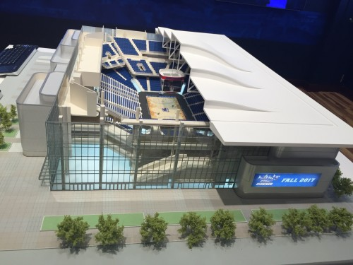 A new 3-D model of the arena was unveiled in a showcase room in DePaul Center today. (Matthew Paras / The DePaulia)