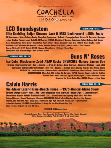 Coachella's lineup, which came out Monday, could hint at who is playing Chicago festivals this year. (Photo courtesy of COACHELLA VALLEY MUSIC AND ARTS FESTIVAL)