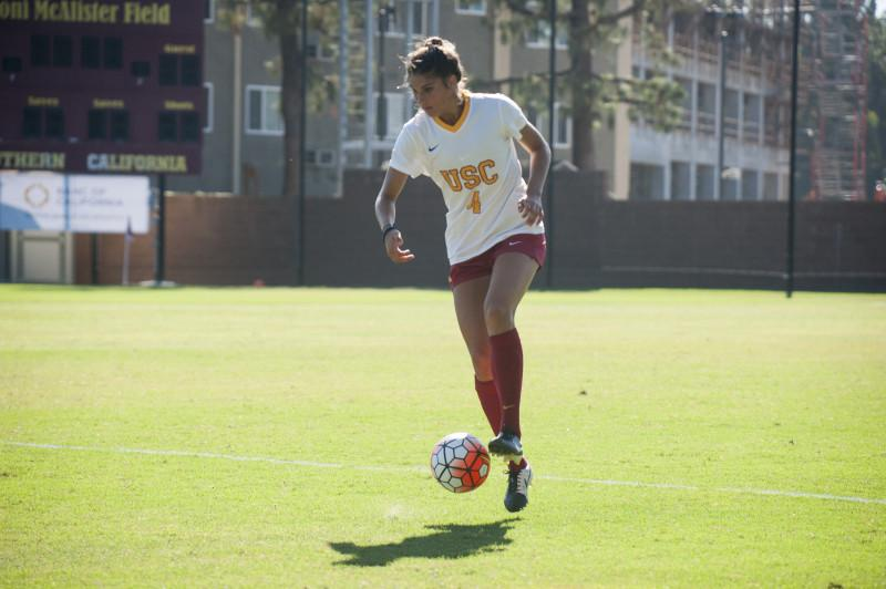 Sophomore defender Abigail Callahan at Southern California. (Photo courtesy of DEPAUL ATHLETICS)