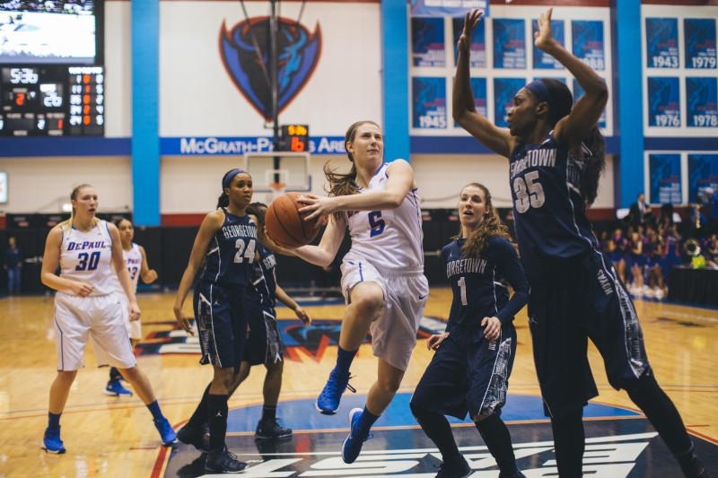 Sophomore guard Lauren Prochaska drives to the basket. (Photo by Josh Leff \ The DePaulia)