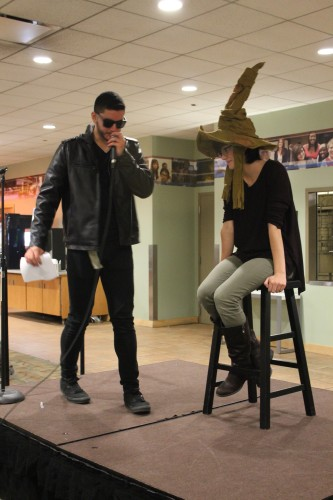Junior Josue Ortiz acted as the personification of the Sorting Hat at DePaul Activities Board's event Thursday. (Maddy Crozier / The DePaulia)