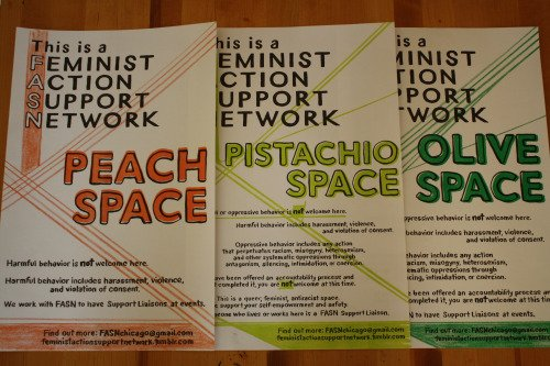 Feminist Action Support Network offers three definitions of safe spaces. (Photo courtesy of FEMINIST ACTION SUPPORT NETWORK)