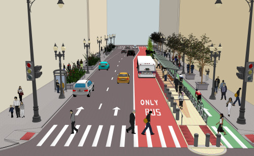 A rendering of Loop link lanes on Washington St. (Photo courtesy of CDOT)