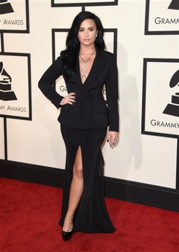 Demi Lovato arrives at the 58th annual Grammy Awards at the Staples Center on Monday, Feb. 15, 2016, in Los Angeles. (Photo by Jordan Strauss/Invision/AP)