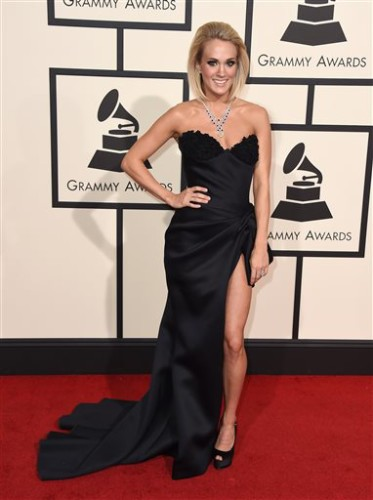 Carrie Underwood arrives at the 58th annual Grammy Awards at the Staples Center on Monday, Feb. 15, 2016, in Los Angeles. (Photo by Jordan Strauss/Invision/AP)