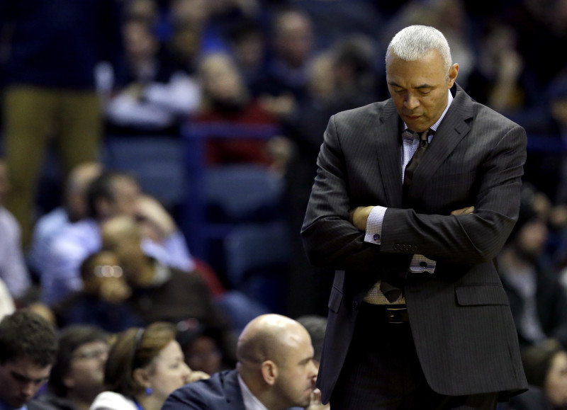 DePaul head coach Dave Leitao reacts as he watches his team during the second half of an NCAA college basketball game against Villanova Tuesday, Feb. 9, 2016, in Rosemont, Ill. Villanova won 86-59. (AP Photo/Nam Y. Huh)