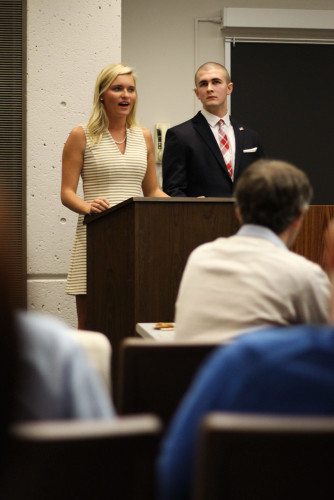 College Republican President Nicole Been (left) came under fire after suggesting the U.S. build a wall to keep out immigrants. (Connor O'Keefe / The DePaulia)