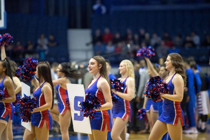 The DePaul cheer squad leads the crowd in a cheer on Feb. 25. (Josh Leff / The DePaulia)