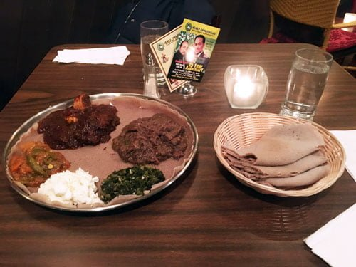 Ras Dashen offers up Ethiopian cuisine in Edgewater, inclulding injera, a porous, pancake-like food that is so delicious it's worth going back despite slow service. (Marcus Cirone / The DePaulia)