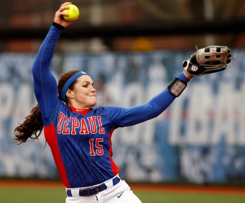 Morgan Maize boasts a 10-2 record with a 2.50 ERA in Big East conference play, all while batting .481. (Photo courtesy of DePaul Athletics)