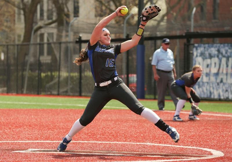 Senior Morgan Maize hadn't pitched for DePaul since her freshman year. Now she's one of the best in the Big East, and DePaul's number one starter.  (Photo courtesy of DePaul Athletics)