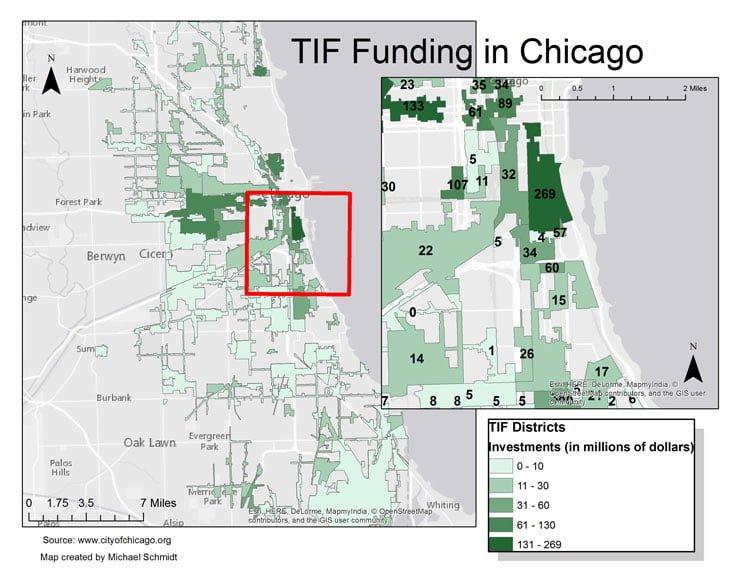 TIF districts in Chicago. (Michael Schmitt / The DePaulia)