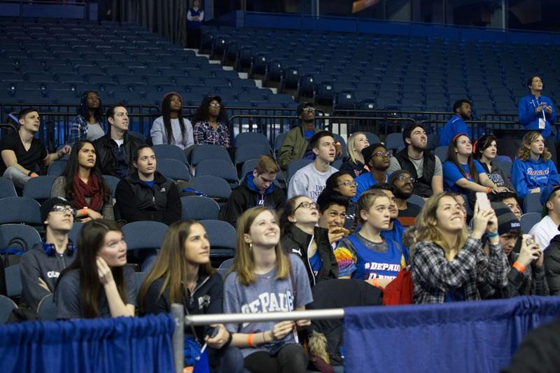 The DePaul student section at Allstate Arena in a March game against St. John's. (Josh Leff / The DePaulia)