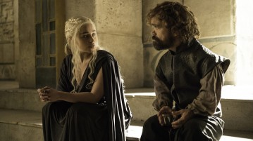 Emilia Clarke, Peter Dinklage. photo: Helen Sloan/courtesy of HBO