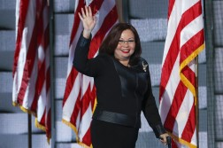 Rep. Tammy Duckworth, D-Ill., waves to delegates during the final day of the Democratic National Convention in Philadelphia , Thursday, July 28, 2016. (AP Photo/J. Scott Applewhite)