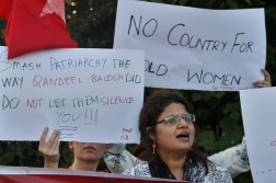 "An Activist of the Awami Workers Party chants slogans during a demonstration to condemn the killing of model Qandeel Baloch and against honor killings, in Islamabad, Pakistan. Nearly 1,000 women are murdered in Pakistan each year for violating conservative norms on love, marriage and public behavior. The so-called ""honor killings"" are often carried out by family members. (Anjum Naveed 