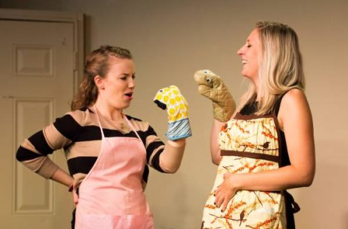 """Lily Staski and Allison Kochanski act out comedy sketch for all female sketch show, """"There's Something about Bloody Mary."""" (Photo courtesy of Huggable Riot)"""