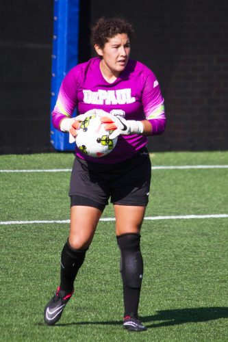 Alex Godinez is a graduate assistant for DePaul after four years playing keeper. (DePaulia File Photo)