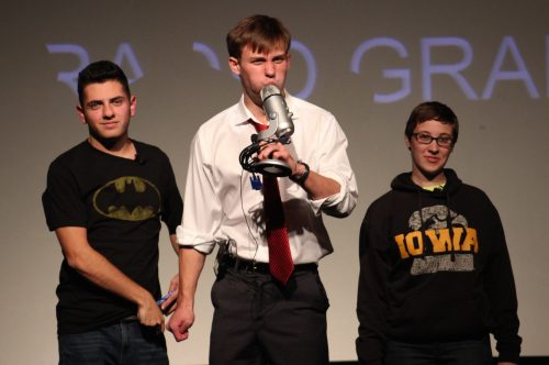 DePaul student Doug Klain (center) performing at last year's 24-Hour Play Festival (Photo courtesy of Ella Lubienski)