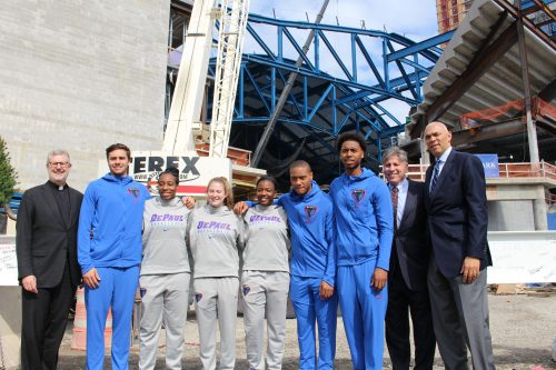 DePaul basketball players and coaches pose outside of the arena. (Jack Higgins/The DePaulia)