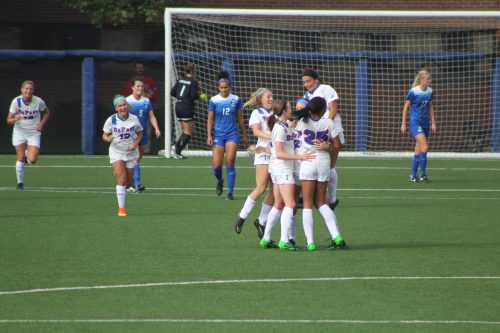 Women's soccer reacts to a goal in a September match against Creighton. (Caroline Stacey/The DePaulia)