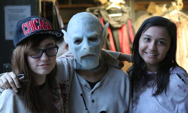 Teenage Statesville Haunted Prison actors pose for a picture before makeup check in.