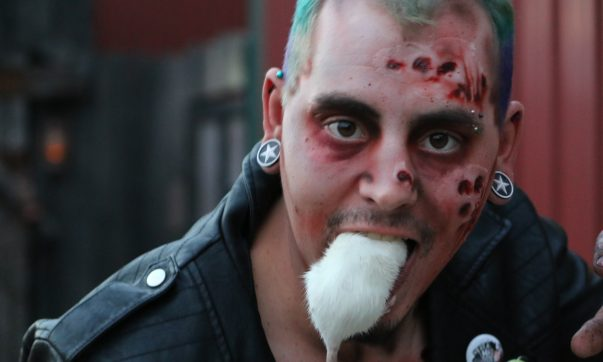 Statesville Haunted Prison actor Michael Miller demonstrates his act with his real life mouse.