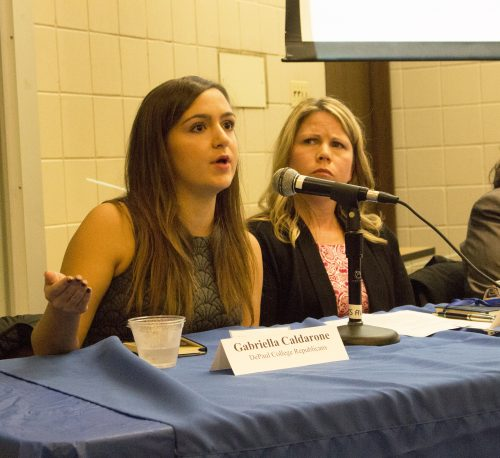 Pictured, from left to right: DePaul College Republicans member Gabriella Caldarone and the Chicago Tribune's Kristen McQueary. (Danielle Harris/The DePaulia)