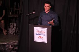 Ben Shapiro speaks at a DePaul Young America's for Freedom event Nov. 15. Shapiro was banned from speaking at DePaul in August. (Danielle Church | The DePaulia)