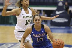 DePaul's Jessica January (14) moves the ball on Baylor's Alexis Prince (12) during the first half of the Gulf Coast Showcase basketball tournament, Saturday, Nov. 26, 2016, in Estero, Fla. (AP Photo/Luis M. Alvarez)