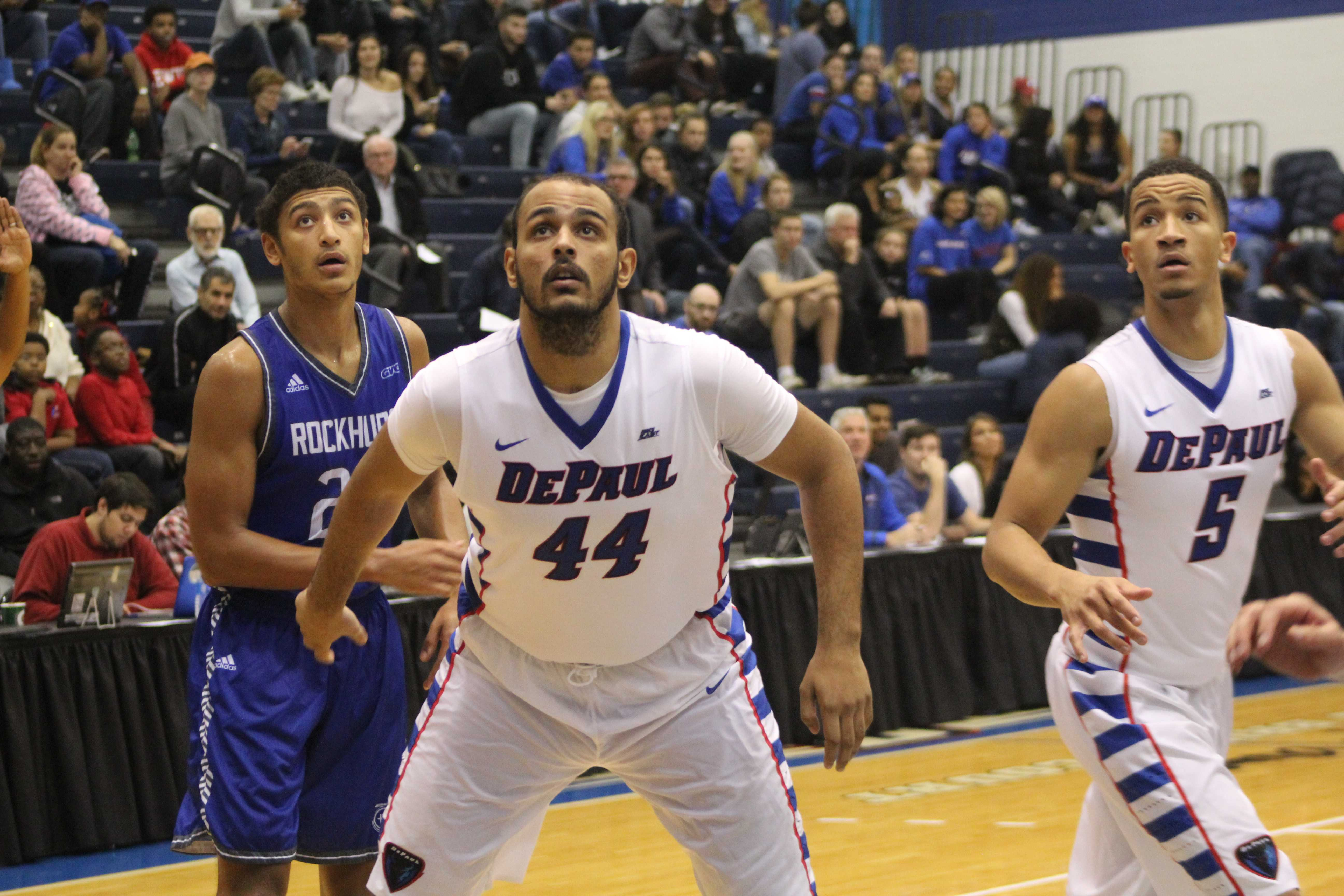 Levi Cook watches a shot go up in an exhibition game against Rockhurst (Caroline Stacy/The DePaulia)
