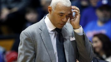 DePaul coach Dave Leitao reacts as he watches his team during the first half of an NCAA college basketball game against Northwestern on Saturday, Dec. 3, 2016, in Evanston, Ill. (AP Photo/Nam Y. Huh)