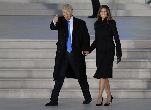 President-elect Donald Trump and his wife Melania Trump arrive at a pre-Inaugural